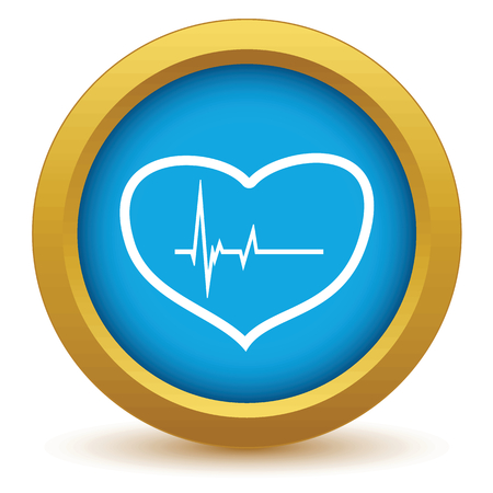 Gold heart beating icon Illustration