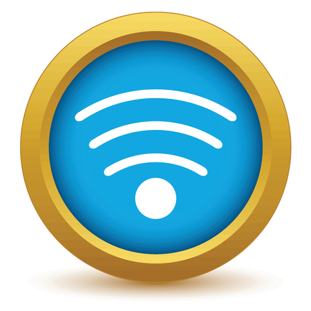 hot wife: Gold wi-fi icon Illustration