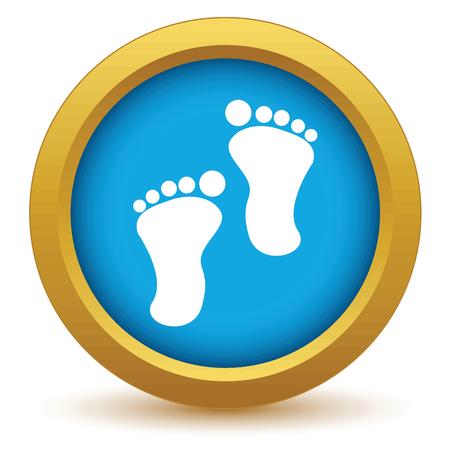 foot steps: Gold foot steps icon Illustration