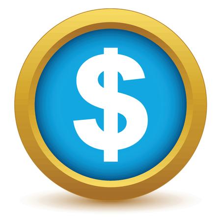 us dollar: Gold dollar icon Illustration