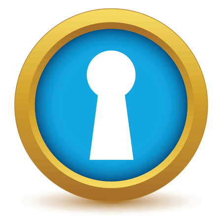 gold keyhole: Gold keyhole icon Illustration