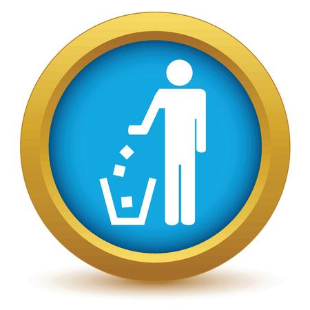 throw away: Gold throw garbage icon Illustration