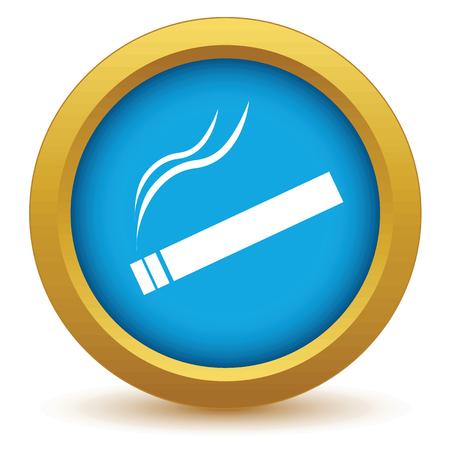 smoldering: Icona sigaretta oro Vettoriali