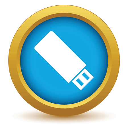 sumbol: Gold usb stick icon Illustration