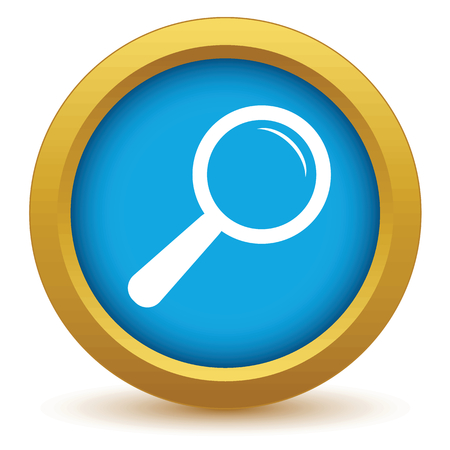 Gold magnifying glass icon Vector