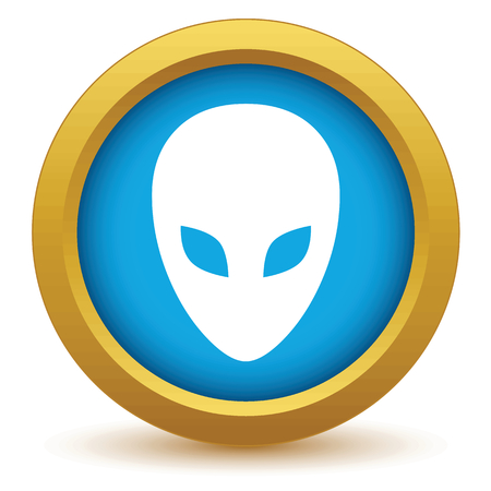extraterrestrial: Gold extraterrestrial icon Illustration