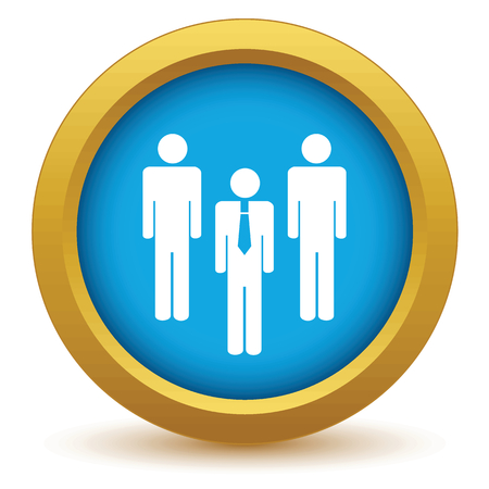 business people meeting: Gold working team icon Illustration