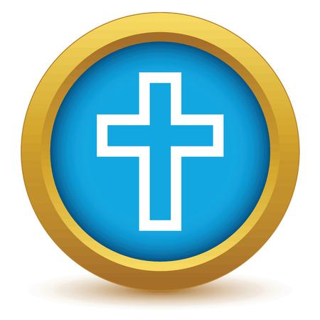 cristianismo: Oro cristianismo icono Vectores