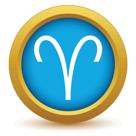Gold Aries icon Vector