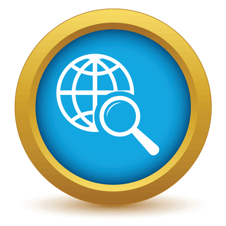Gold world scan icon Vector
