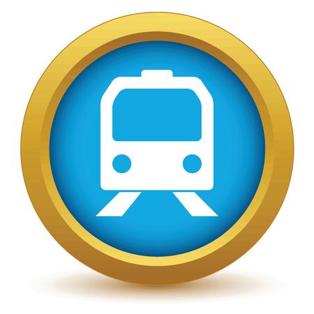 high speed railway: Gold train icon Illustration