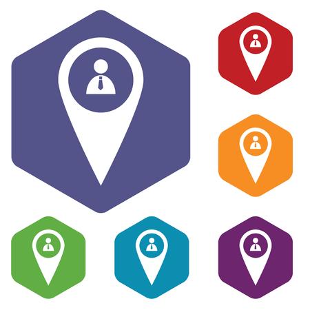 tip style design: Man pointer rhombus icons