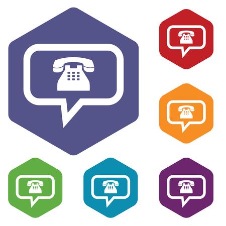 Telephone conversation rhombus icons Vector