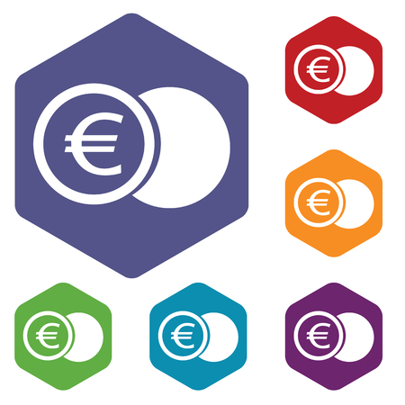 Euro coin rhombus icons Vector