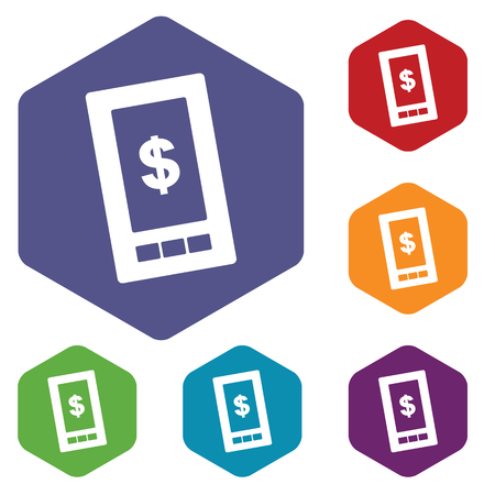 old cell phone: Dollar phone rhombus icons