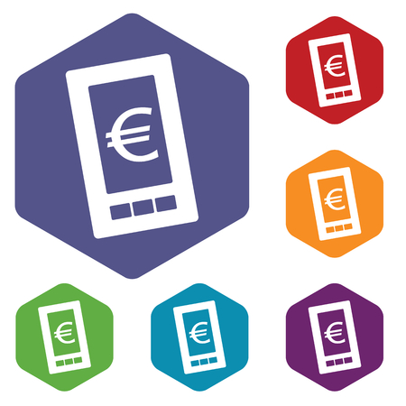 old cell phone: Euro phone rhombus icons