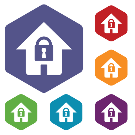 Lock house rhombus icons