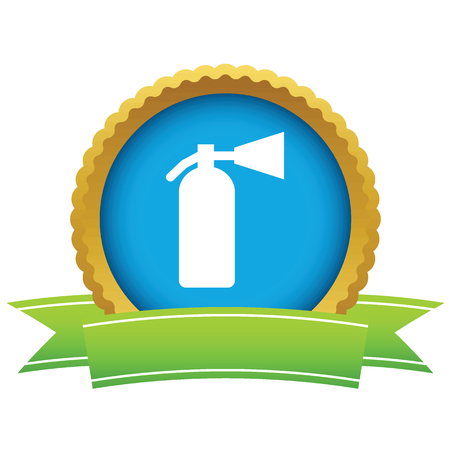 fire extinguisher: Gold fire extinguisher icon Illustration