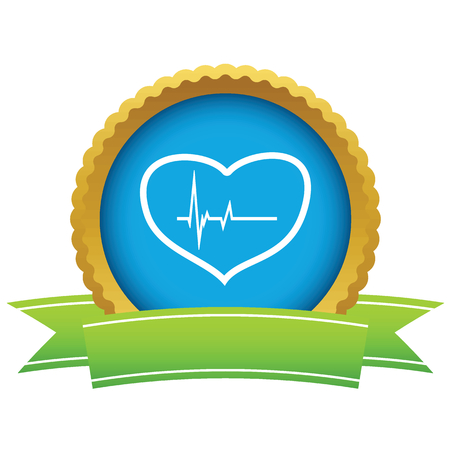beating: Gold heart beating icon Illustration
