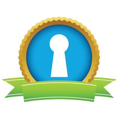 latchkey: Gold keyhole icon Illustration