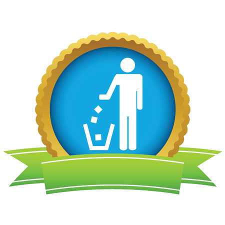 littering: Gold throw garbage logo Illustration