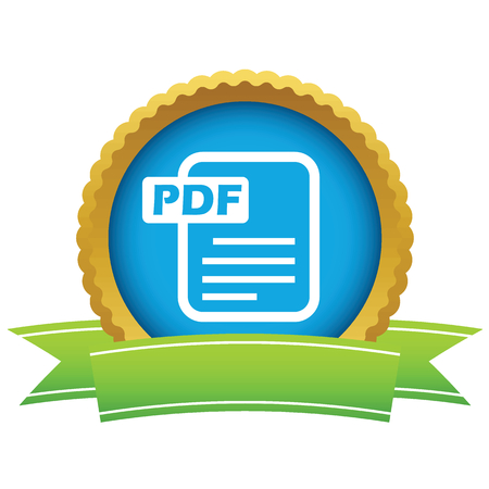Gold pdf icon Vector