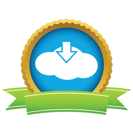 download cloud: Gold download cloud icon