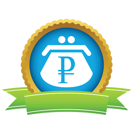 rouble: Gold rouble purse icon Illustration