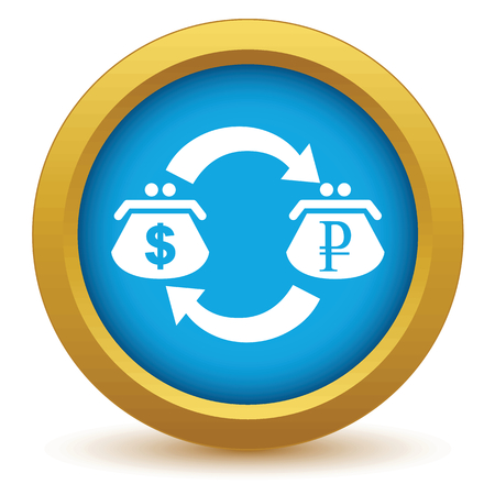 sell shares: Gold dollar rouble exchange icon Illustration