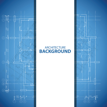 housing plan: Blue and white architecture background Illustration