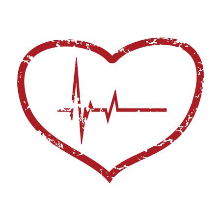 Red grunge heart beating  Illustration
