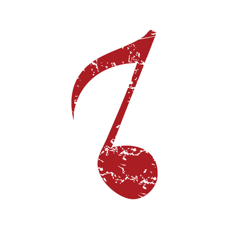 red grunge: Red grunge musical note