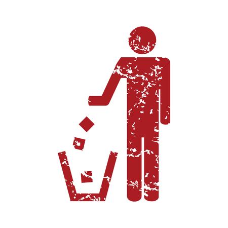 throw away: Red grunge throw garbage
