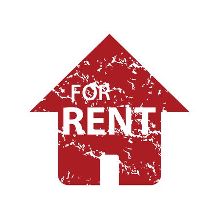 rent: Red grunge for rent  Illustration