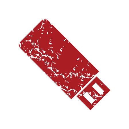 usb stick: Red grunge usb stick