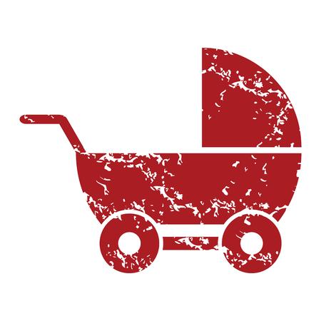 red grunge: Red grunge baby carriage