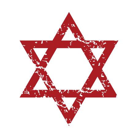 estrella de david: Judaísmo rojo del grunge Vectores