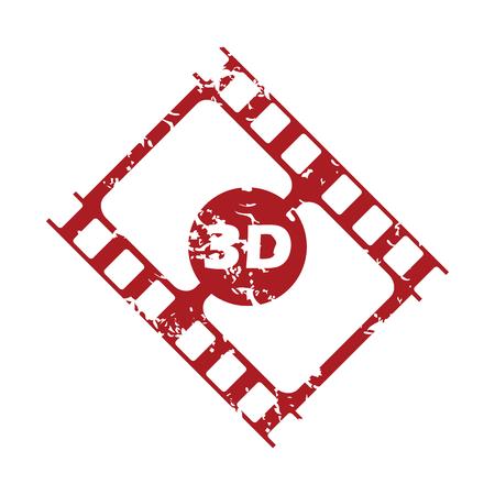 3d film: Red grunge 3d film