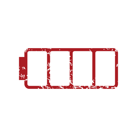 Red grunge empty battery  Vector