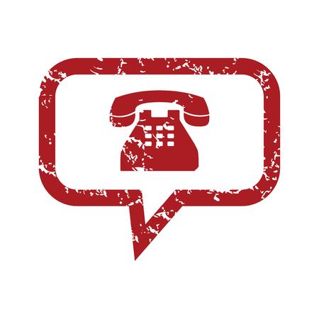 red grunge: Red grunge telephone symbol