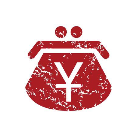 purse: Red grunge yen purse