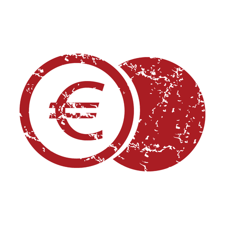 Red grunge euro coin Vector