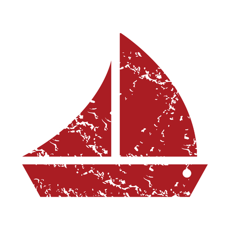 inflate boat: Red grunge ship