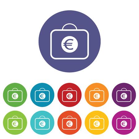 fondos violeta: Bolso con euro s�mbolo conjunto de iconos Vectores