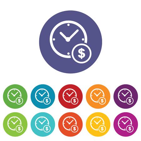fondos violeta: Reloj y d�lares icono s�mbolo set