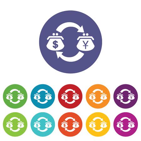 fondos violeta: D�lar-Yen icono intercambio conjunto