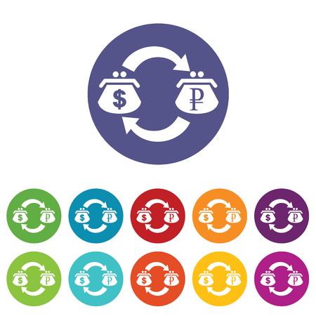 fondos violeta: D�lar rublos icono intercambio conjunto Vectores