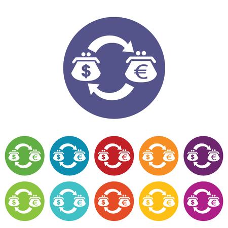 fondos violeta: Dólar-euro icono intercambio conjunto Vectores