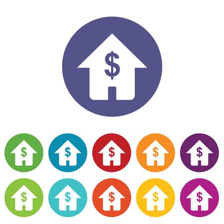 fondos violeta: Casa con el dólar símbolo del icono conjunto