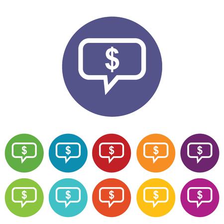 fondos violeta: Mensaje Financial icon set